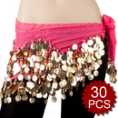 BellyLady Wholesale Lots Of 30 Belly Sance Hip Scarves, Gold Coins Waves Style