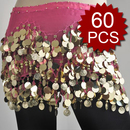 BellyLady Zumba Wholesale Hip Scarves  - 60 Scarves, Gold Coins