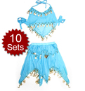 Wholesale 10 Sets Kids Belly Dance Costume, Belly Dance Halter Top & Skirt