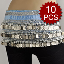 Wholesale Lot Of 10 Multi-Row Coin Belly Dance Wrap, Silver Coins