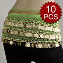Wholesale Lot Of 10 Multi-Row Coin Belly Dance Wrap, Gold Coins