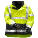 Tingley The Icon3 1 Premium ANSI Compliant Breathable, Insulated High Visibility Outerwear System Jacket System - Fluorescent Yellow-Green-Black - Attached Hood - Removable Black Fleece Jacket
