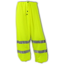Tingley Polyester Mesh, Elastic Waist, Class E High Visibility Pants Fluorescent Yellow-Green - Mesh