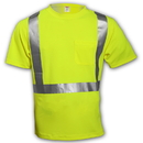 Tingley Birds Eye Polyester, Class 2 High Visibility T-Shirts Fluorescent Yellow-Green - Short Sleeve - 2