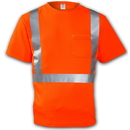 Tingley Birds Eye Polyester, Class 2 High Visibility T-Shirts Fluorescent Orange-Red - Short Sleeve - 2
