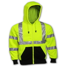 Tingley Polyester, Class 3 Crew Neck Sweatshirts Fluorescent Yellow-Green - Attached Hood
