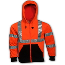 Tingley Polyester, Class 3 Hooded Sweatshirts Fluorescent Orange-Red - Attached Hood