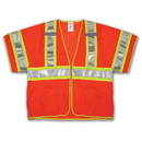 Tingley Polyester Mesh, Two-Tone, Zipper, Class 3 High Visibility Vests Fluorescent Orange-Red