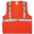 Tingley Polyester Mesh, Zipper Closure, Class 2 High Visibility Vests Fluorescent Orange-Red