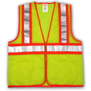 Tingley Polyester Mesh, Two-Tone, Zipper Closure, Class 2 High Visibility Vests Fluorescent Yellow-Green