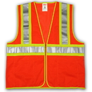 Tingley Polyester Mesh, Two-Tone, Zipper Closure, Class 2 High Visibility Vests Fluorescent Orange-Red