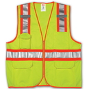 Tingley Two-Tone Surveyor Style, Polyester Solid/Mesh, Class 2 High Visibility Vests Fluorescent Yellow-Green