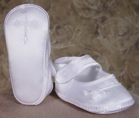 Little Things Mean A Lot 6CRGAS - Girls Satin Shoe with Celtic Cross and Rosette