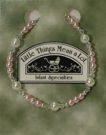 Little Things Mean A Lot BRACE2- Pearl and pink silver bracelet