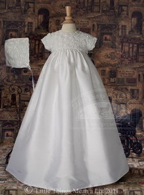 Little Things Mean A Lot DP56GS - Silk Christening Gown with Rosette Bodice