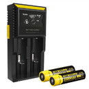 Nitecore D2 Charger w/ 2x NL183 2300mAh 18650 Batteries