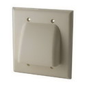 Vanco Dual Low Profile Bundled Cable Wall Plate - Ivory, VANWPBW2IX