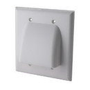 Vanco Dual Low Profile Bundled Cable Wall Plate - White, VANWPBW2WX