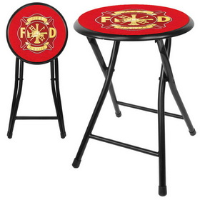 Fire Fighter 18 Inch Cushioned Folding Stool - Black