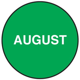 "Seton 20750 Inventory Month Dots, Wording: August, Size: 3"" Dia., Price/500/Roll"