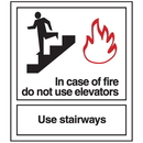 Seton In Case of Fire Do Not Use Elevators - Polished Plastic Fire Exit Sign - 25639