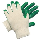 Flex-Tuff 3341B MCR Safety Green Latex Palm and Finger Dip Gloves, Size: Large