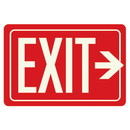 Seton Exit Sign With Right Arrow - Glow-In-The-Dark Polished Red Sign - 86881