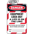 Seton 87379 Padlock Lockout Tags - Danger Equipment Lock-Out A Life Is On The Line!, Size: 2