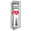 Seton 87567 3-Way View AED Sign (Includes Arrow Graphic), 7-1/2