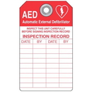 "Seton AED Tag Inspect This Unit Carefully - 3""W x 5-3/4""H - 87568"