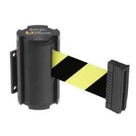 Beltrac Wall-Mount Retractable Belts - Black/Yellow Belt, BB909, Price/Each
