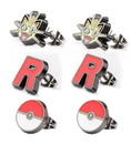Body Vibe BDV-PMMWTER01-BP-C Pokemon Meowth, Team Rocket & Pokeball Stud Earrings, Set of 3