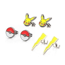Body Vibe BDV-PMPIKAER02-BP-C Pokemon Pikachu, Lightning Bolt & Pokeball Stud Earrings, Set of 3