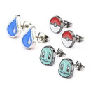 Body Vibe BDV-PMSQRTLER02-BP-C Pokemon Squirtle, Water Drop, & Pokeball Stud Earrings, Set of 3