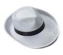 White Velvet Gangster Hat w/Black Band Costume Accessory