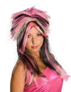 Rubies Pink Black & Blonde Punk Rock 80'S Costume Wig