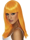 Smiffys Long Straight Neon Orange Glamourama 80's Punk Rock Adult Costume Wig
