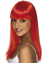 Smiffys Long Straight Neon Red Glamourama 80's Punk Rock Adult Costume Wig