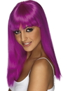 Smiffys Long Straight Neon Purple Glamourama 80's Punk Rock Adult Costume Wig