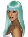 Smiffys Long Straight Neon Aqua Glamourama 80's Punk Rock Adult Costume Wig