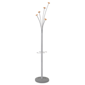 Festival Coat Tree W/Umbrella Holder, Five Knobs, Gray/Mahogany, Price/EA