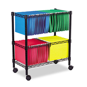 Two-Tier Rolling File Cart, 26w x14d x 29-1/2h, Black, Price/EA