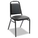 ALERA ALESC68VY10B Padded Steel Stack Chair W/square Back, Black Vinyl, Black Frame, 4/carton