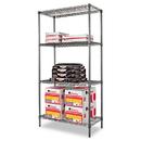 ALERA ALESW503618BA Wire Shelving Starter Kit, Four-Shelf, 36w X 18d X 72h, Black Anthracite
