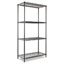 ALERA ALESW503618BL Wire Shelving Starter Kit, Four-Shelf, 36w X 18d X 72h, Black
