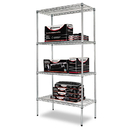 ALERA ALESW503618SR Wire Shelving Starter Kit, Four-Shelf, 36w X 18d X 72h, Silver
