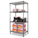 ALERA ALESW503624BA Wire Shelving Starter Kit, Four-Shelf, 36w X 24d X 72h, Black Anthracite