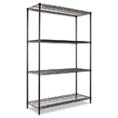 ALERA ALESW504818BL Wire Shelving Starter Kit, Four-Shelf, 48w X 18d X 72h, Black