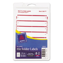 Avery AVE05201 Print Or Write File Folder Labels, 11/16 X 3 7/16, White/dark Red Bar, 252/pack