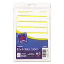 Avery AVE05209 Print Or Write File Folder Labels, 11/16 X 3 7/16, White/yellow Bar, 252/pack